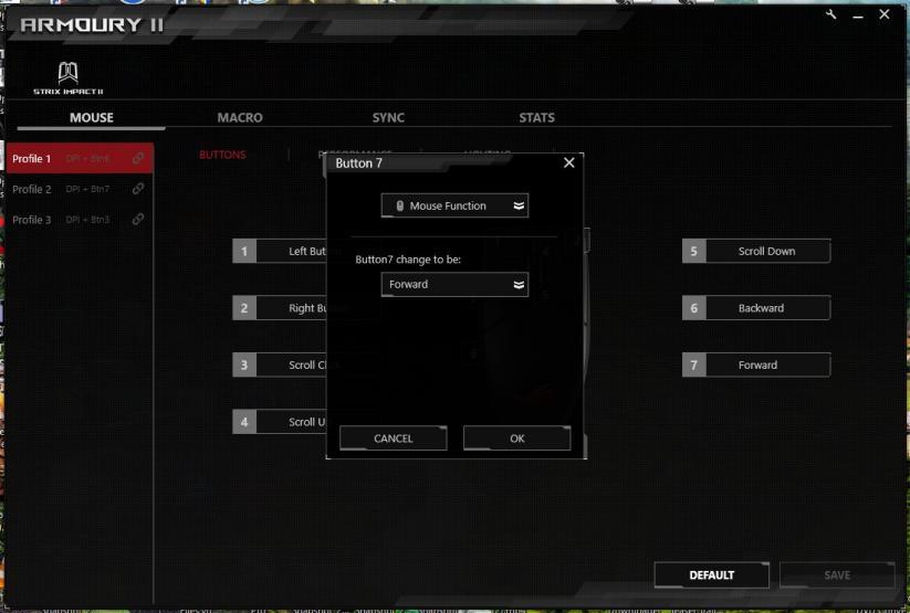 ROG Armoury II assegnazione funzione bottoni