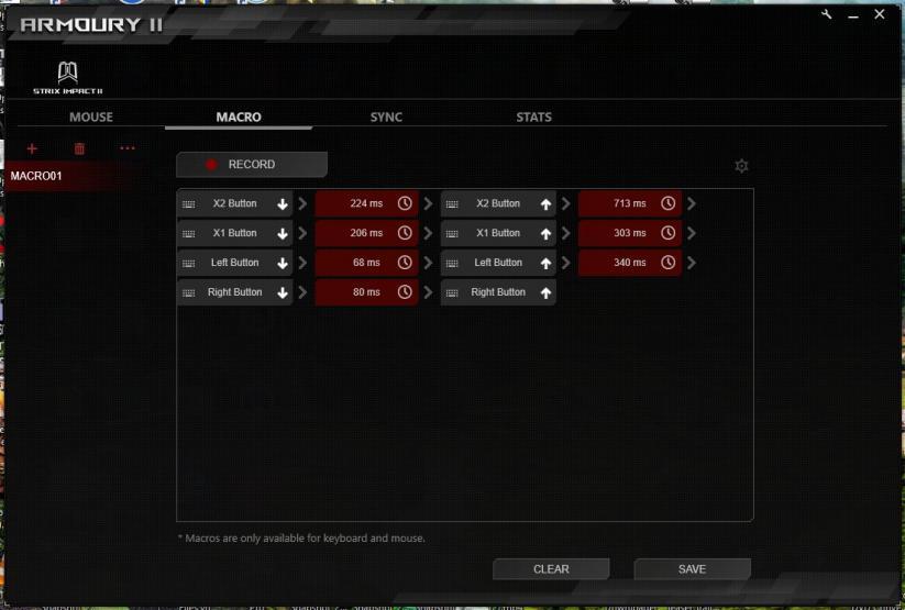 ROG Armoury II schermata macro