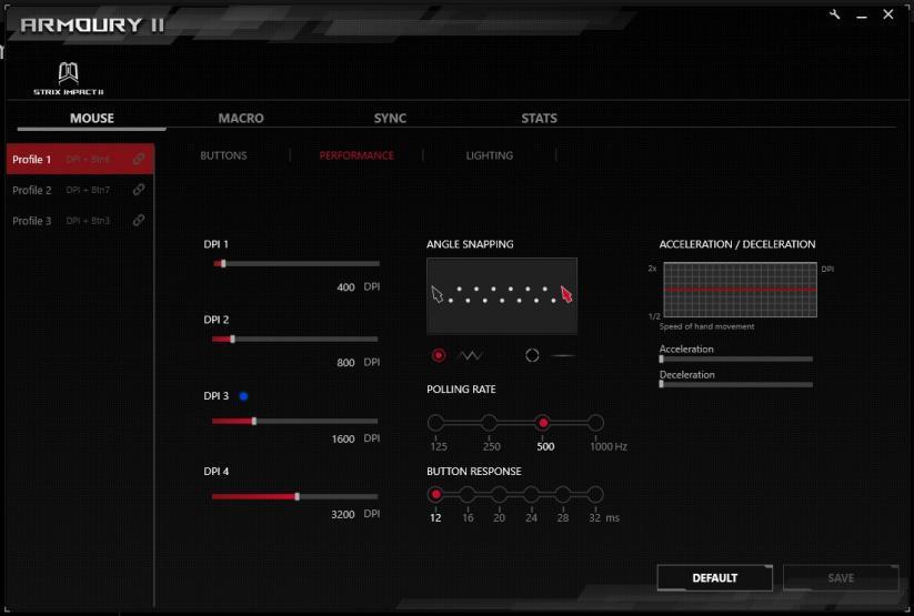 ROG Armoury II settaggio sensore mouse