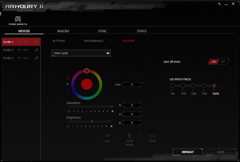 ROG Armoury II schermata led