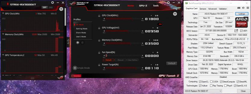 ASUS ROG STRIX RX 5600 XT O6C Gaming gpu ttweak ii 1800mhz