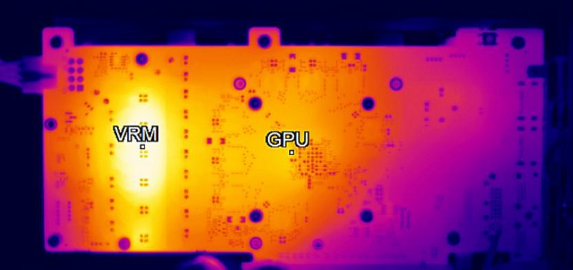 distribuzione del calore su una scheda video in funzione