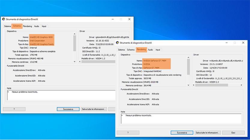 schermata direct x con dettagli scheda video