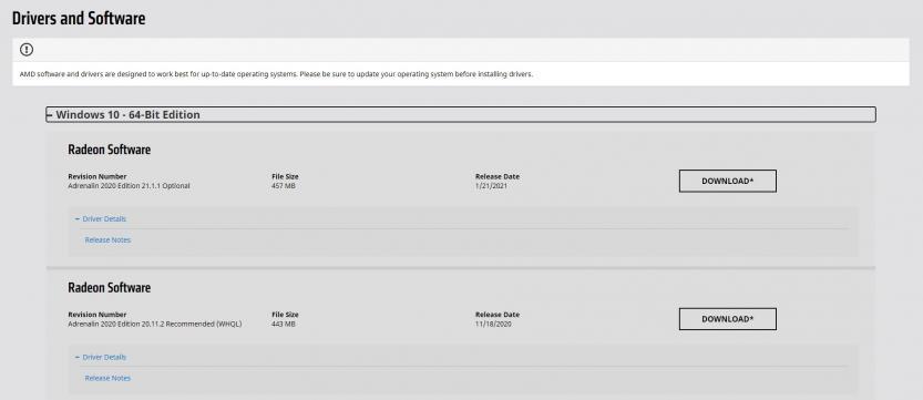 schermata driver amd radeon disponibili