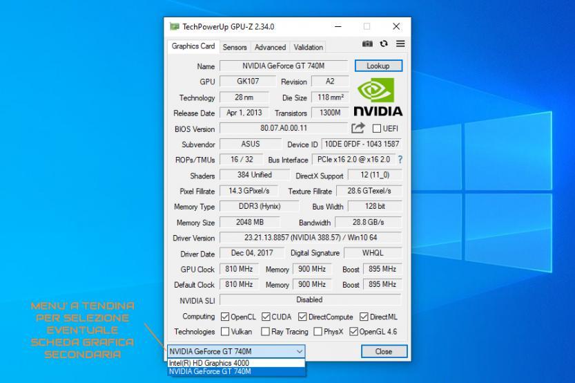 schermata techpowerup gpu z con selezione doppia scheda video