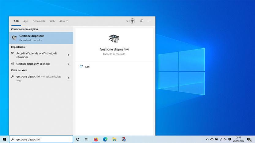 schermata windows 10 gestione dispositivi
