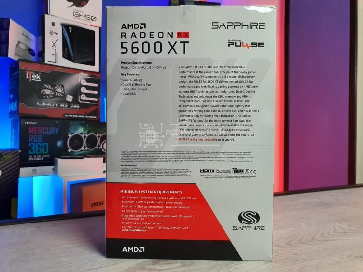 Sapphire Pulse RX 5600 XT retro della confezione
