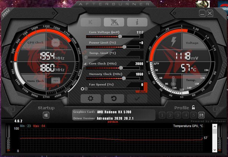XFX RX 5700 DD ULTRA msi afterburner overclock